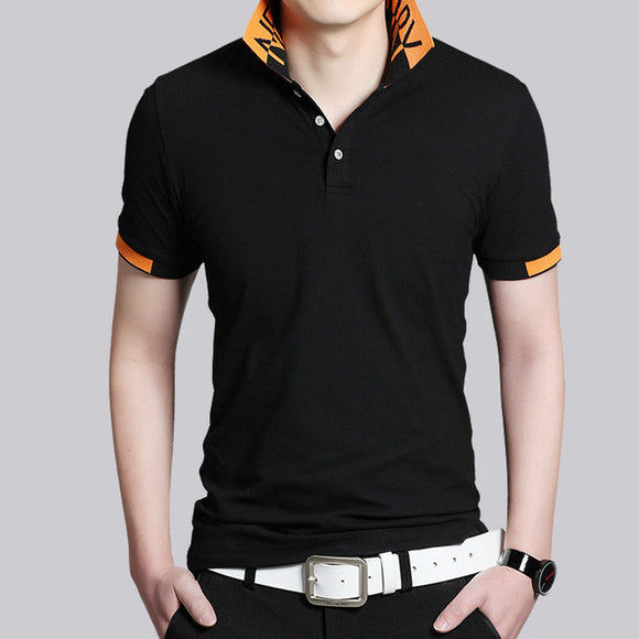 Mens Two Tone Short Sleeve Polo Shirt