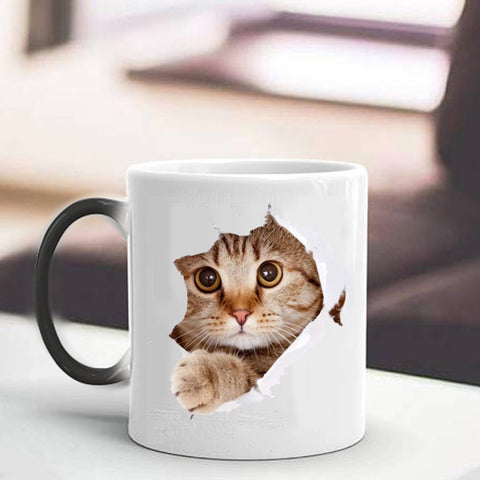 Adorable Cute Lovely Cat Colorful Changing Ceramic Coffee Mug