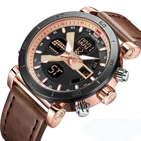 Mens Dual Display Dual Movement Leather Watch