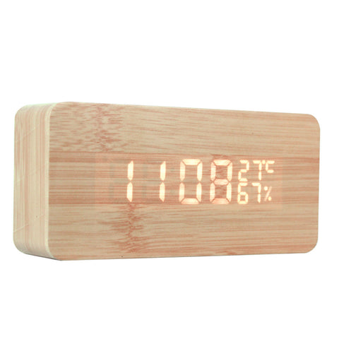 LED Wooden Digital Click with Temperature Display