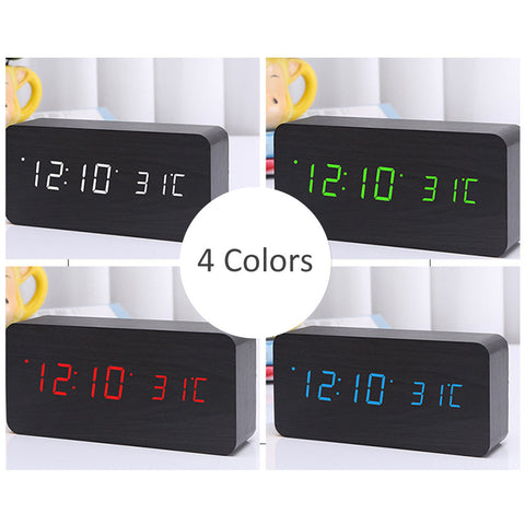 LED Desk Dark Wooden Digital Alarm Clock with Temperature Display