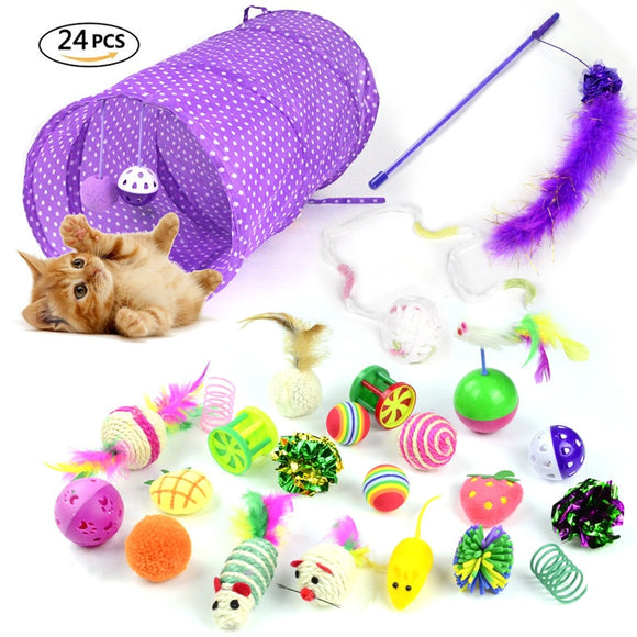 24 pcs Cat Toys Set with Foldable Tunnel