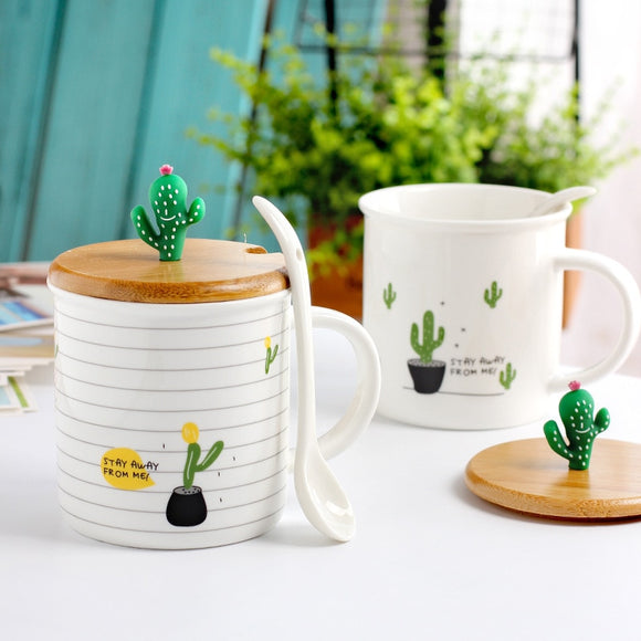 Creative Cactus Ceramic Cup with Wooden Cover and Spoon Set