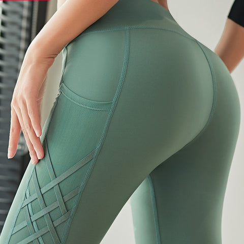 High Waist Slim Fit Cross Pattern Yoga Leggings with Side Pockets