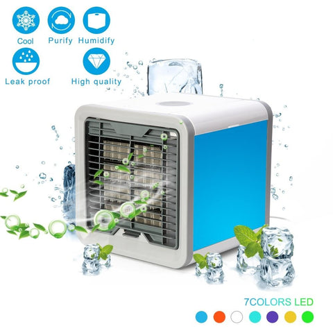 USB Portable Mini  Humidifying Air Cooler with 7 LED Colors Theme