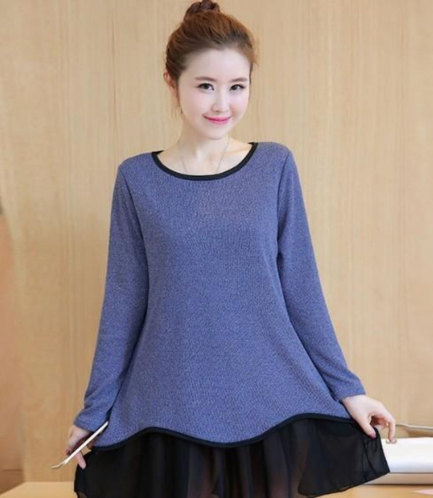 Womens One piece Long Sleeve Layered Top