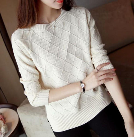 Womens Slim Fit Round Neck Knitted Top