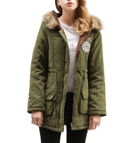 Womens Army Style Hooded Winter Parka Coat