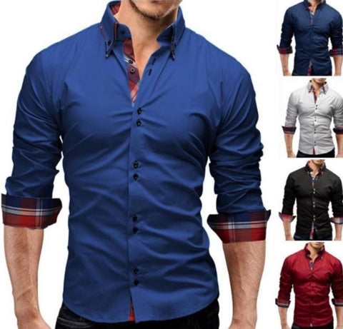 Mens Slim Fit Dual Collar Look Button Front Shirt