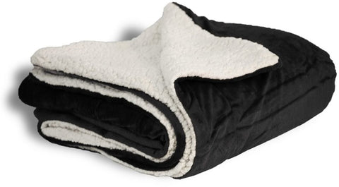Wholesale  Micro Mink Sherpa Blanket- Black 50x60- 12 Units