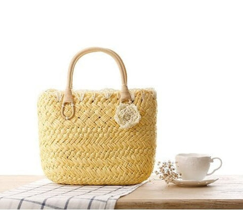 Straw Purse with Rattan Handles by Coseey