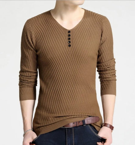 Mens Casual V Neck Sweater with Buttons Design