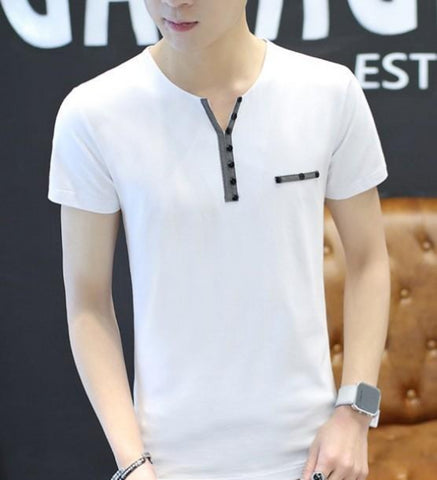 Mens Casual Slim Fit T Shirt with Buttons Details