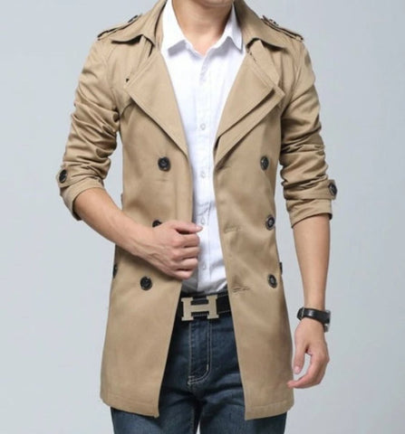 Mens Double Breasted Layered Trench Coat