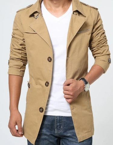 Mens Classic Military Trench Coat
