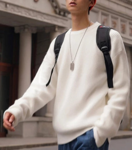 Mens KPOP Style Crew Neck Loose Fit Sweater