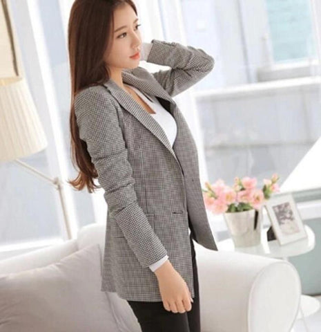 Womens Slim Fit Checkered Blazer