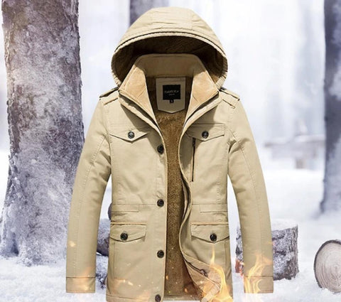 Mens Hooded Military Style Coat