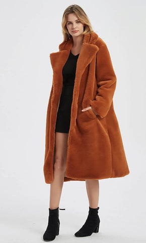 Womens Faux Fur Coat with Notch Collars