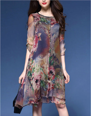 Womens Quarter Sleeve Floral Dress
