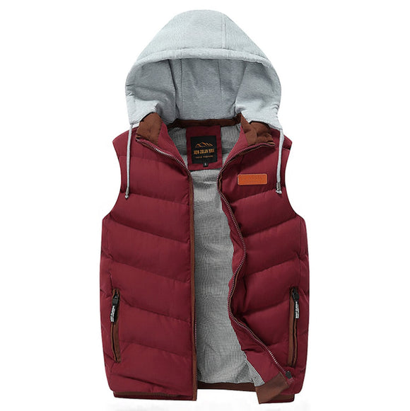 Mens Winter Puffy Vest with Removable Hood in Red