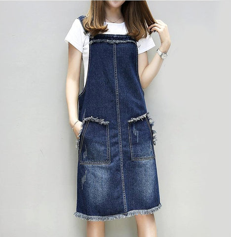 Womens Denim Pinafore Dress with Pockets