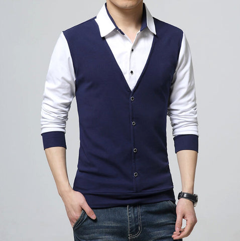 Mens Layered Look Shirt with Vest
