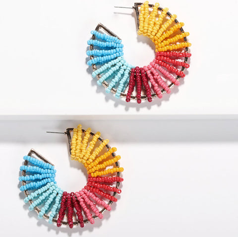 Round Beaded Colorful Earrings