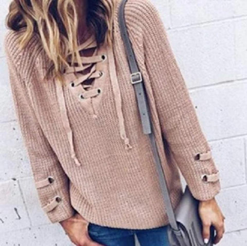 Women Casual Lace Up Sweater