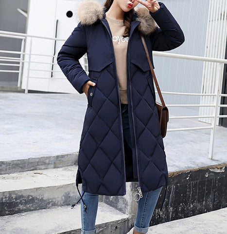 Womens Long Zipper Coat with Furry Hood