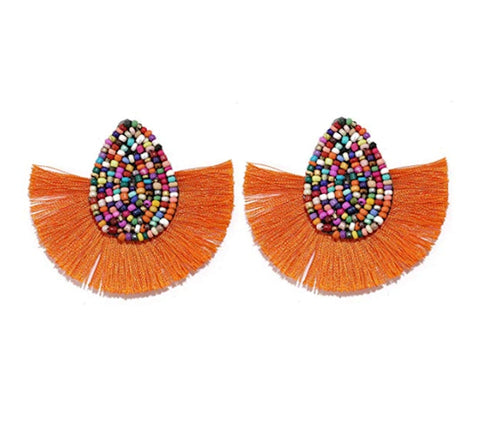 Colorful Beaded Waterdrop Tassel Earrings