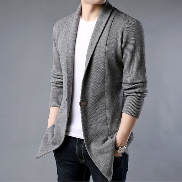 Mens Mid Length Single Button Cardigan
