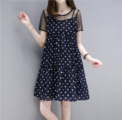Womens Star Print A-Line Dress