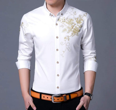 Mens Button Front Shirt with Floral Design
