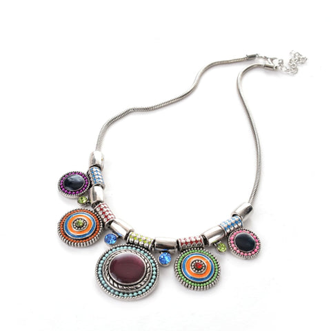 Multicolor Circle Plate Necklace
