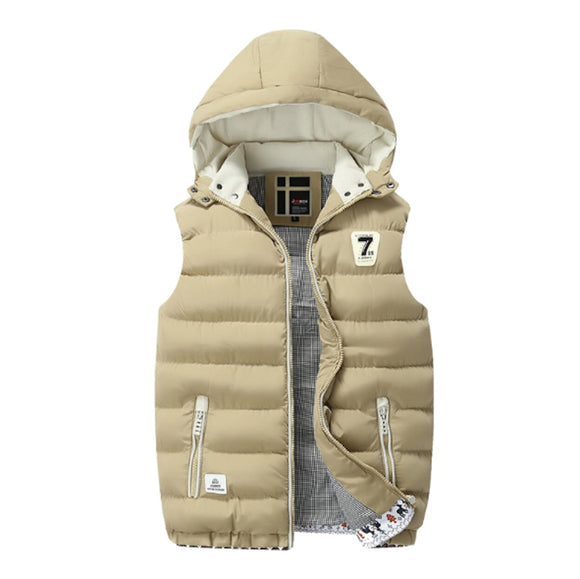 Mens Two Tone Hooded Puffy Vest in Khaki