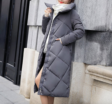 Womens High Collar Long Puffy Coat