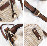 Straw Shoulder Bucket Bag with Vegan Leather Handle