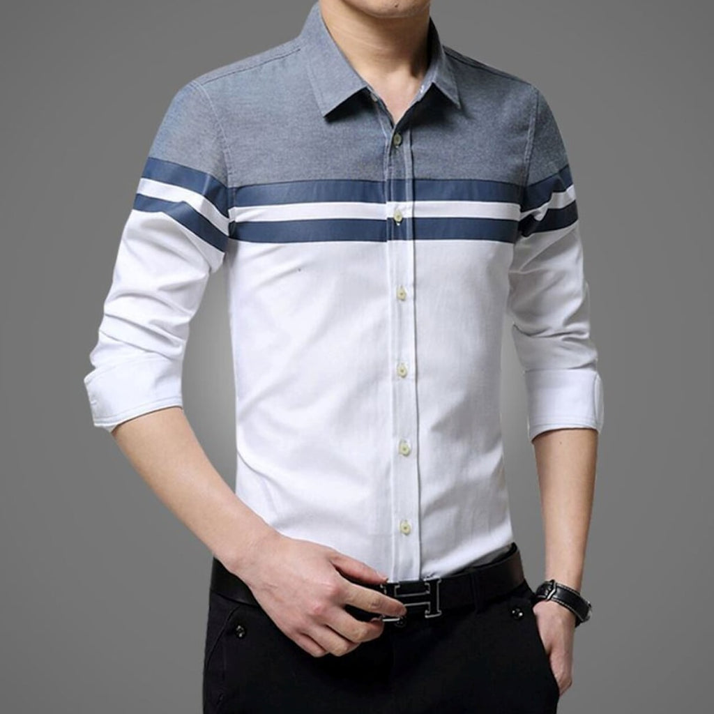 Mens Color Block Button Front Shirt