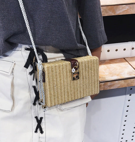 Straw Box Clutch Shoulder Bag