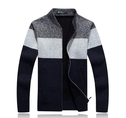 Mens Color Block Zipper Cardigan