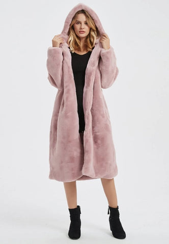 Womens Hooded Faux Fur Coat with Pockets