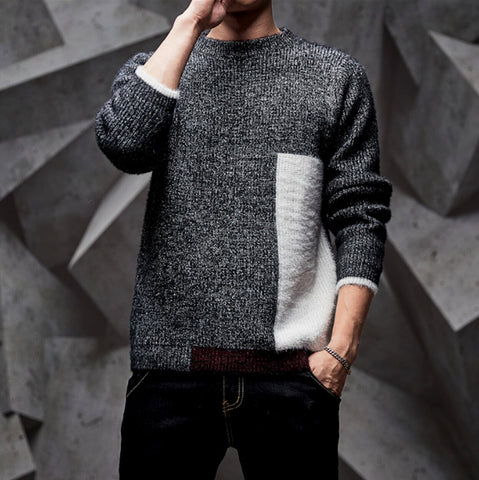 Mens Round Neck Color Block Sweater