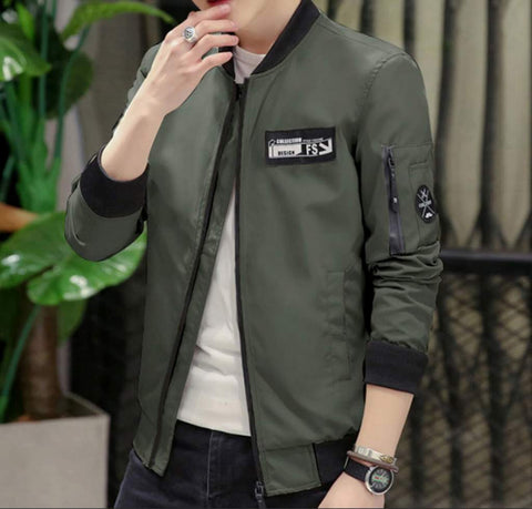 Mens Casual Zipped Up Bomber Jacket