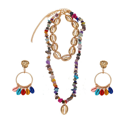 Seashell Layered Necklace and Earrings Set