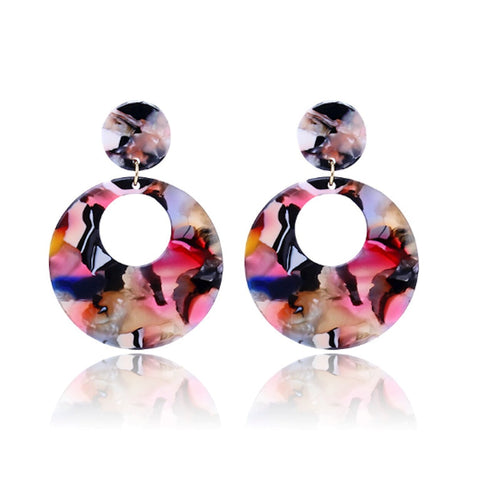 Round Resin Hoop Earrings