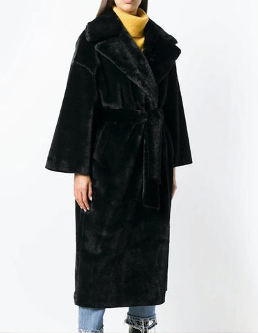 Womens Faux Fur Belted Trench Coat