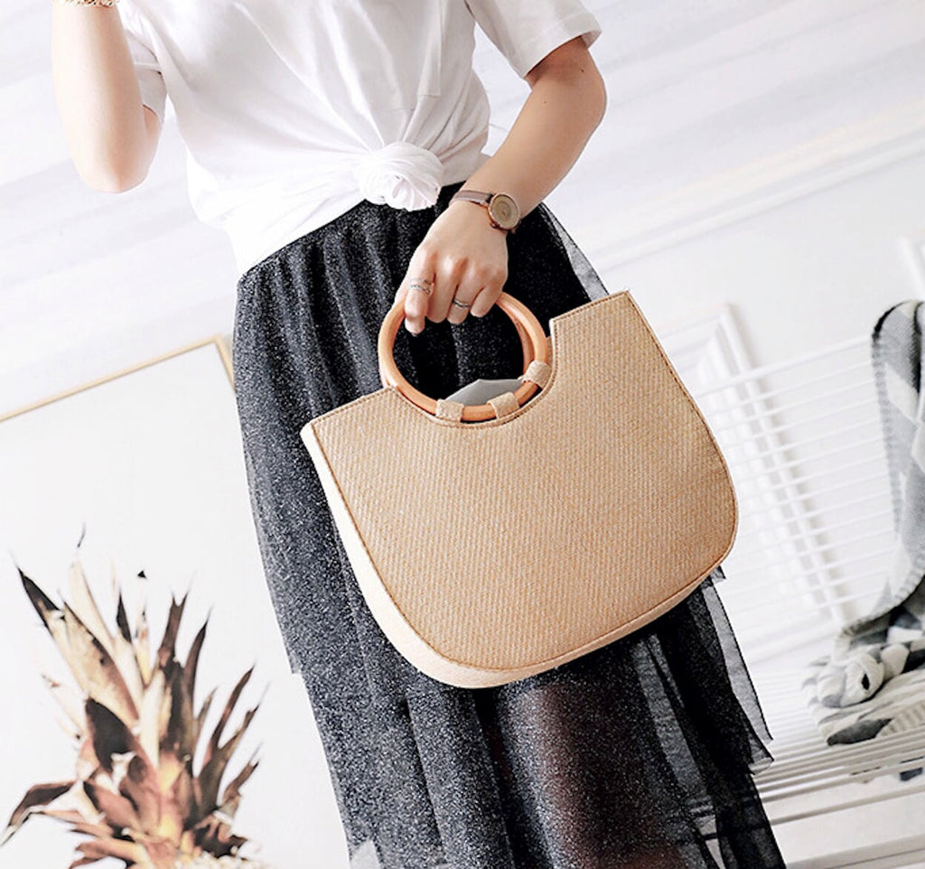 Straw Tote with Round Wooden Handles