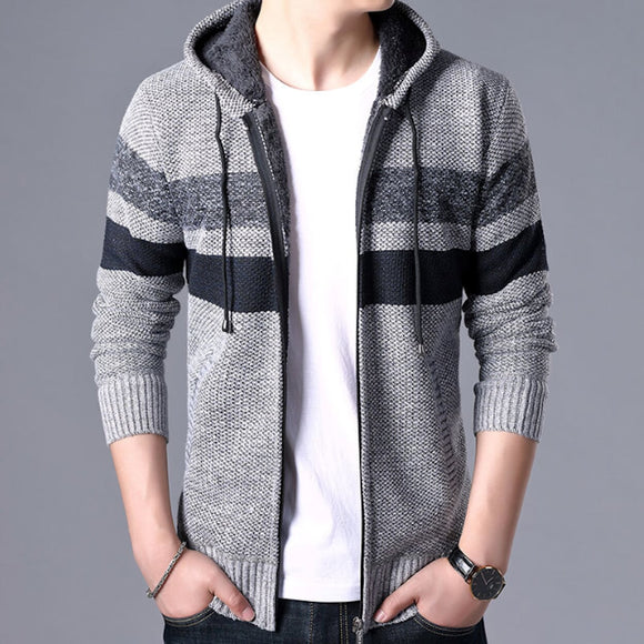 Mens Striped Knit Cardigan with Hood