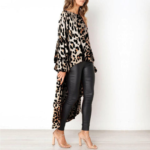 Womens Leopard Print High Low Hem Long Blouse